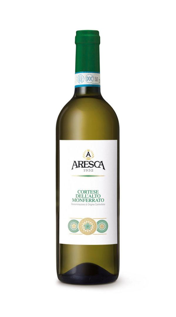bottiglia di vino bianco cortese di Aresca Vini