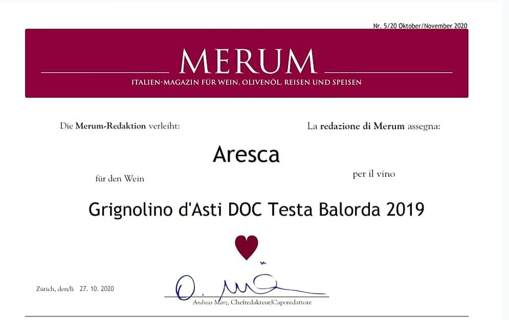 certificazione premio merum Aresca